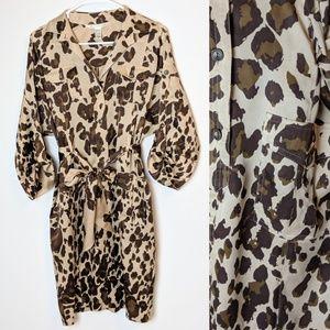 DVF leopard animal print, silk dress, size 2